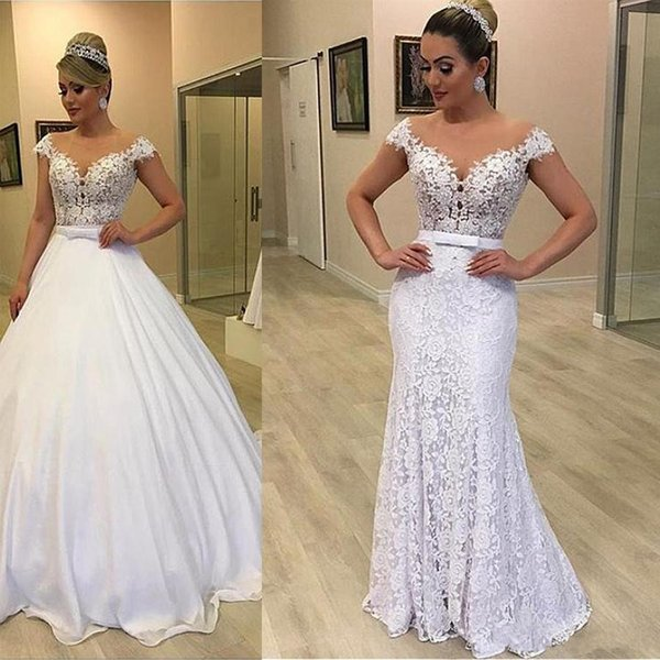 Sexy A Line Wedding Dresses 2020 Summer Off Shoulder Lace Appliques Sashes With Satin Detachable Train Country Arabic Plus Size Bridal Gowns
