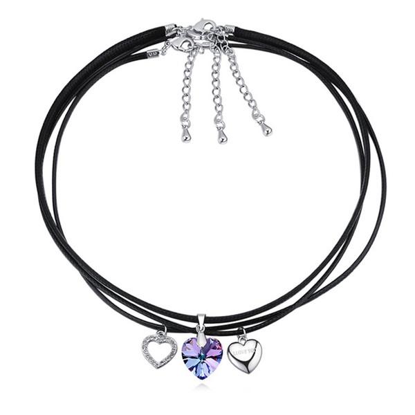 Nouveau mode 3 PCS Trendy Colliers cadeau Coeur pendentif en cristal de Swarovski corde chaîne Choker pour femmes Party Collier fantaisie Bijoux