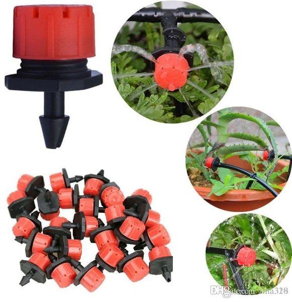 50pcs/lot Adjustable Gardening Micro Flow Drip Head Barb Irrigation Watering Dripper Sprinkler Pot For Greenhouse Watering Equipments I194