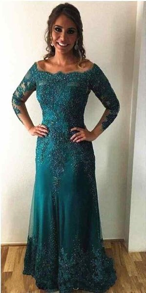 2020 Cheap Sheath Turquoise Mother Off Bride Dresses Off Shoulder Long Sleeves Lace Appliques Beads Floor Length Wedding Guest Evening Gowns