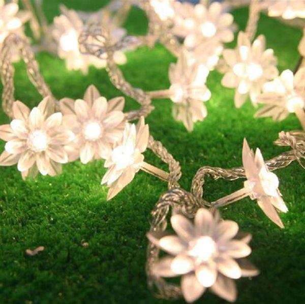 3 M 20 Led Luzes Cordas Bateria Operado Luzes De Fadas De Natal Branco Quente Lutos Flor Decorativa Interior Ao Ar Livre Da Árvore Do Partido Do Pátio