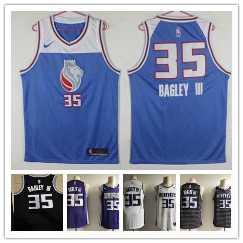the latest 8e186 5484a 2018 2019 New The City Edition Blue 35 Marvin Bagley III Jersey Stitched  Sacramento Kings Mens Marvin Bagley III Basketball Jerseys Purple White  From ...