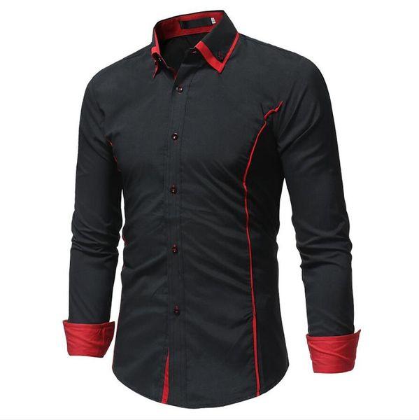 Fashion Brand Camisa Masculina Long Sleeve Shirt Men Korean Slim Double Collar Design Casual Dress Shirt Plus Size Black