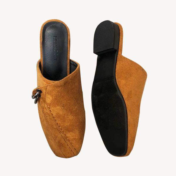 Mulheres camurça mulas saltos planas dedo do pé fechado de couro macio Slip Ons Slides Lady Summer Slippers