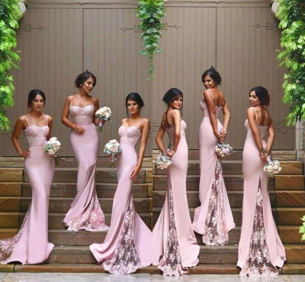 Custom Blush Pink Bridesmaid Dresses Spaghetti Strap Sleeveless Mermaid Lace Junior Country Evening Dresses Long Maid Of Honor Dresses
