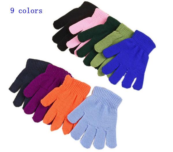 Guanti magici invernali per bambini Solid color caramella Guanto Kintting a maglia calda Guanti elasticizzati per dita Studenti Guanto esterno MMA2441