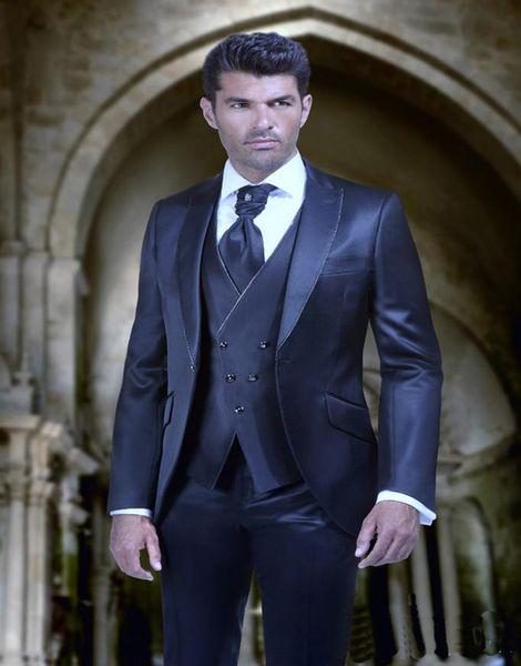 Hot Sell Slim Fits Groom Tuxedos Peak Lapel Mens Coat Prom Blazers Business Suits (Jacket+Pants+Vest+Tie) W:050