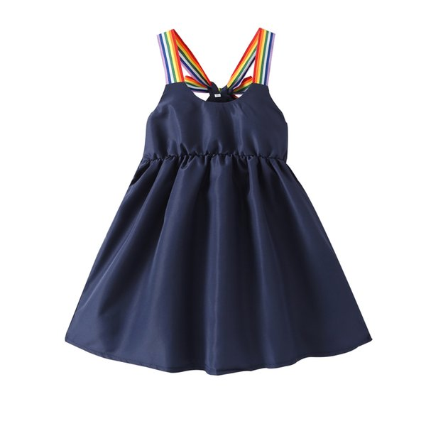 Crianças Roupas De Grife Rainbow Straps Sling Vestido Da Menina Da Marinha Cor Suspender Vestido Colder Ombro Vestido Smocked