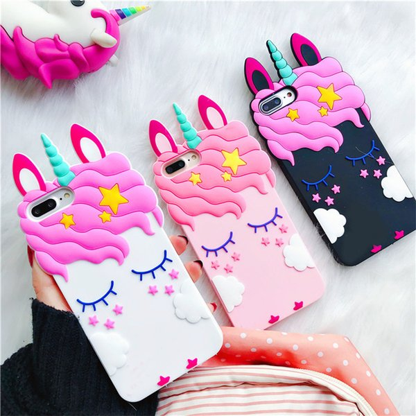 3D Fashion Cartoon Pink Unicorn Soft rubber Silicone Case For iPhone X XR XS max cute lovely girly shockproof back cover for iPhonex