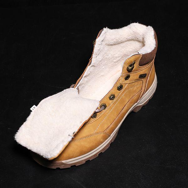 big size 47 Stivaletti da uomo di alta qualità vera pelle scarpe da uomo stivali da neve lace up scarpe invernali mantenere calda pelliccia uomo avvio
