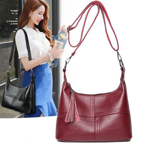 New Fashion Women soft Leather Handbags Female Leather Shoulder Crossbody Bag Ladies casual tassel Tote Bag Black/Red Sac a Main