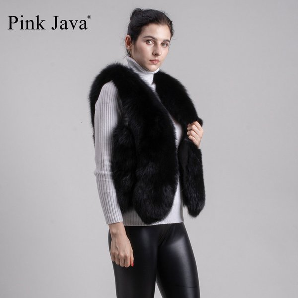pink java QC8105 FREE SHIPPING now women real fox fur short vest gilet genuine fox fur high quality hot sale wholesale Y190916