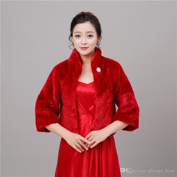 2019 Cheap Winter Faux Fur Bridal Wedding Wrap Cape Shawl Jackets Coat Bolero Tippet Stole for Wedding Party PJ051