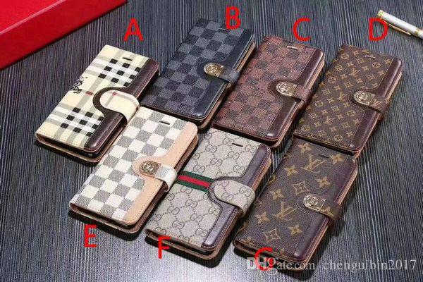 2019 new brand de ign flip wallet leather ca e phone ca e for am ung 10plu 10 10e 9 9plu note8 note9 8 8plu with card lot