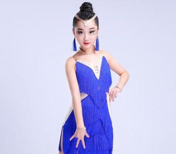 2018 sequins tassels latin dance dress for girls tango samba cha cha latin dance costume for girls Kids competition dress