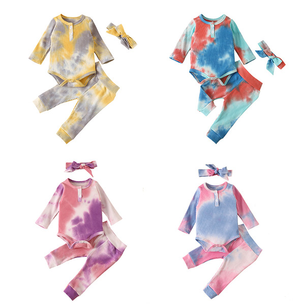 best selling Autumn Kids Clothes article pit Tie Dyed Clothing Sets baby long sleeve romper Top + Pants + headbands 3pcs set Boutique Child Outfits M2467