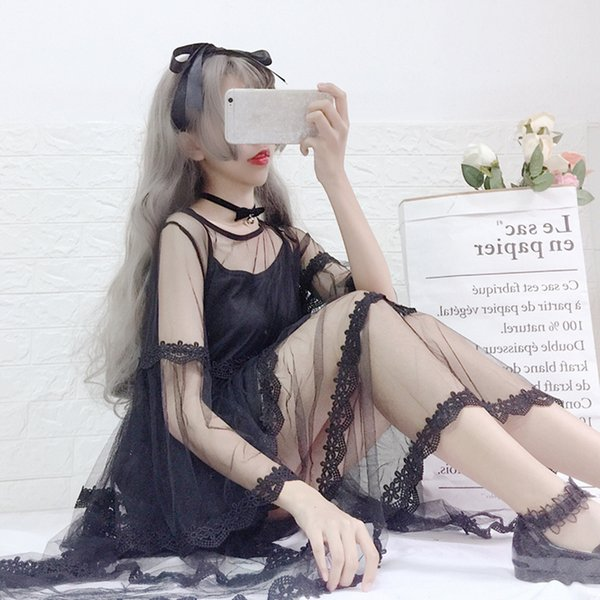 2019 Summer New lolita sweet women suit loose flare sleeves lace fairy women's mesh dress + strap dresses two-piece set