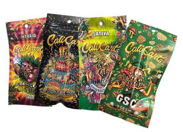 top popular empty calicarts vape cartridge packaging bag 1 gram cali carts resealble zipper pouch retail package e cigarette accessories 2020