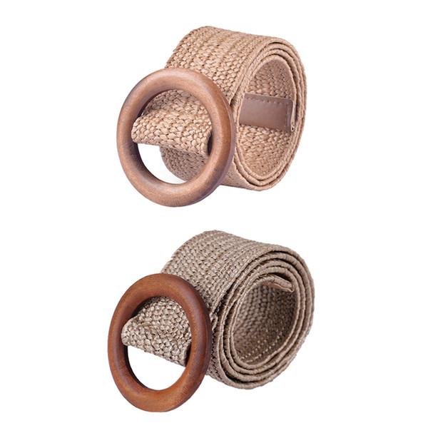 1pcs moda cintura pulsante per le donne elastico decorazione cintura di paglia di legno accessori per il vestito casuale