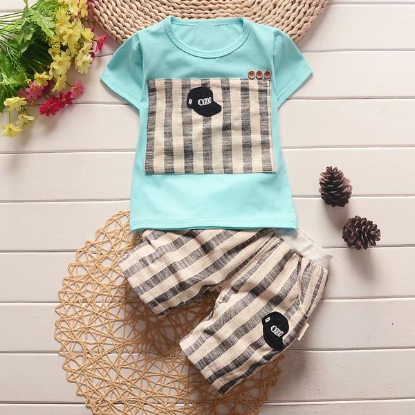 vestiti 2019 di estate del neonato del bambino di buona qualità regolati T-shirt a strisce bebe neonato + pantaloncini tuta di modo del bambino del vestito dei bicchierini 2pcs