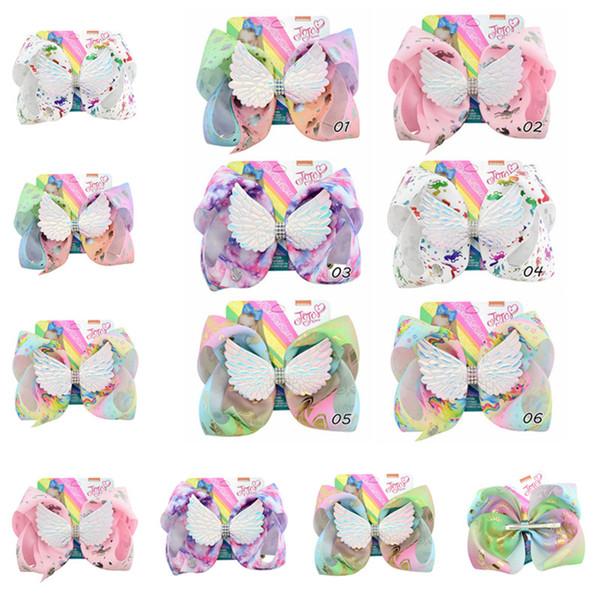 JOJO Unicorn Siwa Hair Bows Angel Wings Hairpin Baby Girls Boutique Hair Clip Floral Print Bowknot Barrettes Kids Hairclip Hair Accessories