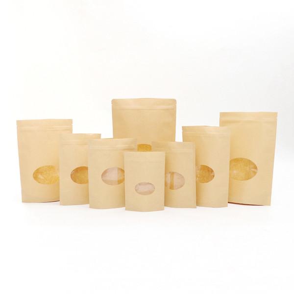 50pcs / lot Brown Reißverschluss Kraftpapiertüten Oval Standup Geschenkverpackungstasche für Lebensmittel Süßigkeiten Kaffee Schmuck Druckverschlussbeutel Freies Verschiffen