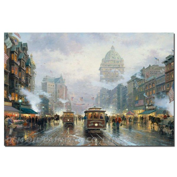 Expert Artist Pure Hand-painted High Quality San Francisco Market Street Oil Painting Handmade Cityscapes Knife Painting