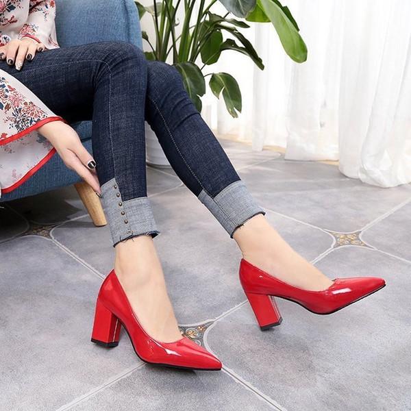c39d68c7 Zapatos nuevos Zapatos de tacón alto para mujer Zapatos rojos para mujer  Slip-on de