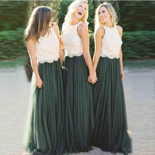 Elegant A-line 2 Colors Ivory Lace Top Emerald Green Tulle Skirt Bridesmaid Dresses Long Wedding Party
