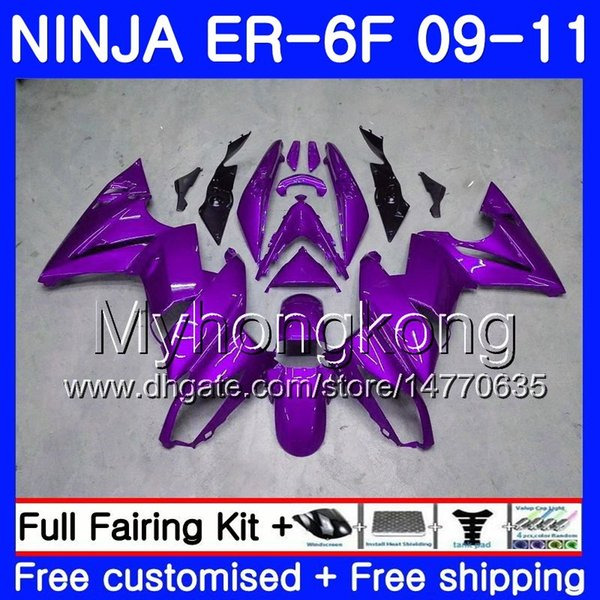 Body For KAWASAKI ALL Purple light NINJA 650R ER-6F ninja650 ER6F 09 10 11 252HM.10 Ninja650R ER6 F ER 6F 2009 2010 2011 Fairings Kit+7Gifts