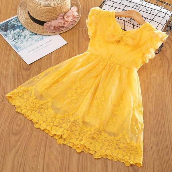 2019 nuove ragazze di estate vestiti da partito di marca vestiti di pizzo fiore ricamo design bambini vestiti per le ragazze casual usura da 3 a 8 anni