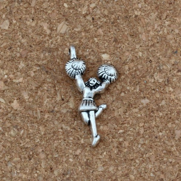 Cheerleader girl Charms Pendants 100Pcs/lot Antique silver Fashion Jewelry DIY Fit Bracelets Necklace Earrings 13x28.8mm A-350