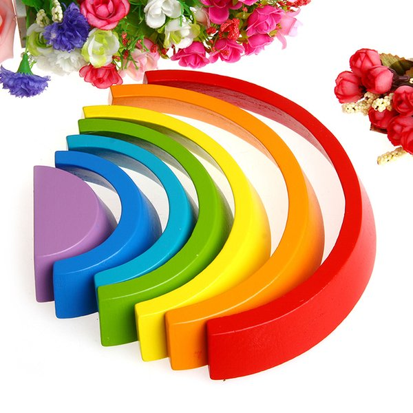 7Pcs Colorful Wood Rainbow Building Blocks Baby Intellectual Development Toys Educational toys SH190908