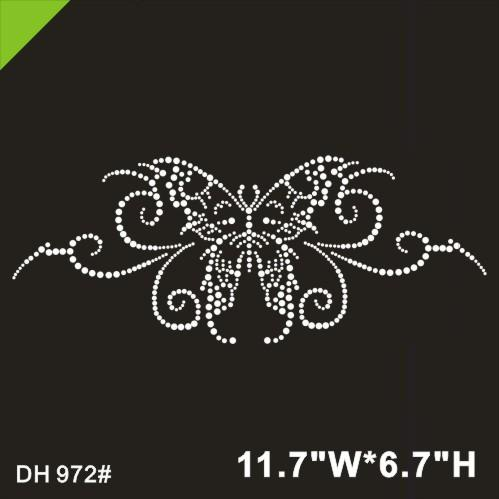 Free shipping Big Butterfly hot fix rhinestone motif designs iron on crystal transfers design applique patches strass iron DIY DH972#