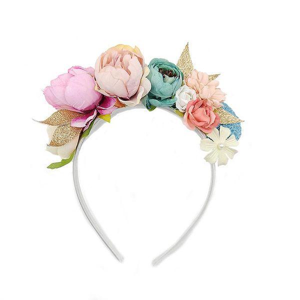 New baby bohemian fake artificial flowers headbands hair wreath kids Hair Sticks girls flowers hair accessories