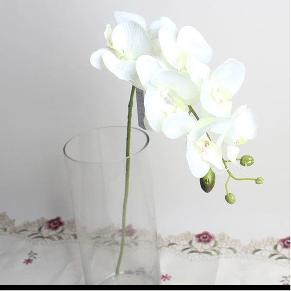Flor de seda amarela Raw Artificial Silk borboleta Orchid Bouquet 7 Flor Heads casamento Flores Party Decor