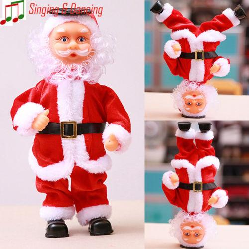 Lovely Cute Santa Claus Dancing Singing Decoration Doll Christmas Hanging Electric Decor Best Gift For Kids New