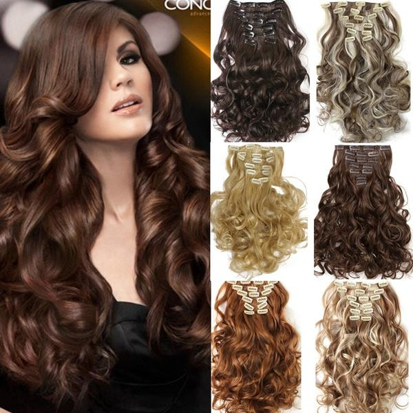 Fashion Sexy Natural Wavy Curly Synthetic 7pcs/set Hairpieces Clip In Hair Extensions Wigs 16 Colors