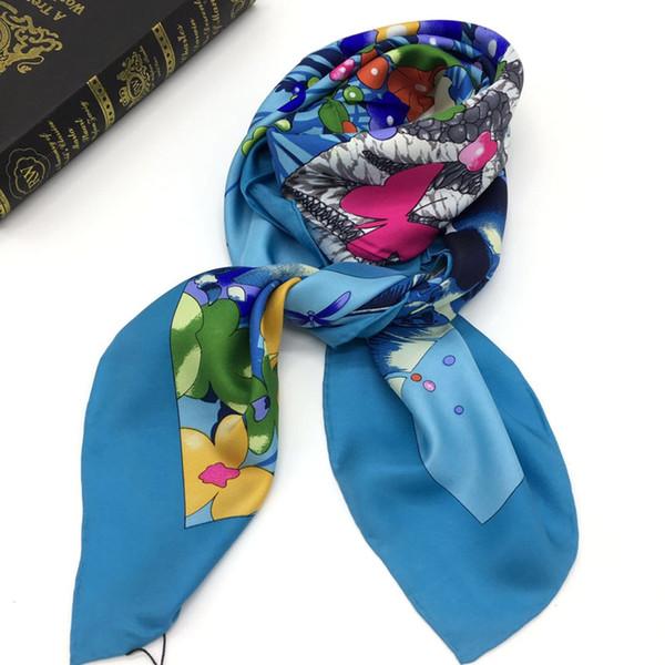 Style de marque bonne qualité 100% twill de soie matériel imprimer Fleurs foulard motif foulards carrés pour les femmes taille 110cm - 110cm