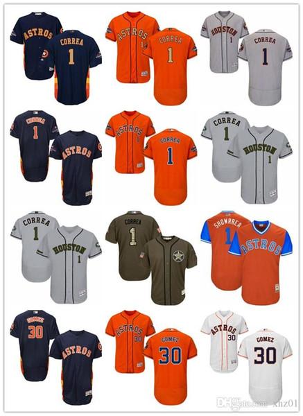 Jérsei de Astros da juventude das mulheres dos homens de Houston do costume # 1 Carlos Correa # 30 Camisa de basebol de Carlos Gomez