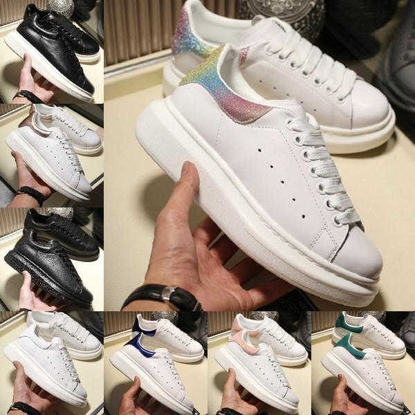 Alexander Mcqueens  2019 Casual Chaussures De Marche Hauteur Augmentant Le Confort Jolie Fille Noir Blanc Poudre Chaussures En Cuir Hommes Mode Féminine Casual Sneakers