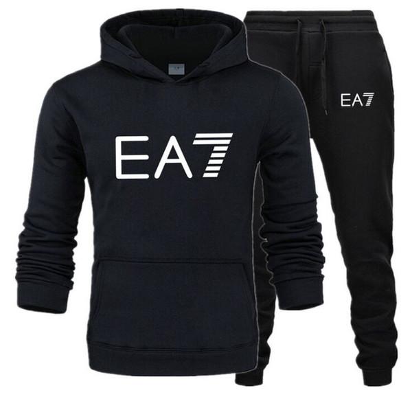 Yeni 2019 sıcak marka erkekler Suit Erkek XXXL Spor Eşofman baskılar termal iç çamaşırı Erkekler Spor ayarlar Fleece Kalın kapüşonlu + Pantolon sweatshirt'ü