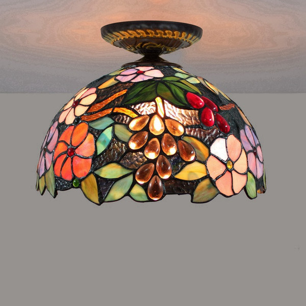 12 Inch European Creative Grape Ceiling Lamp American Pastoral Corridor Living Room Glass Shade Ceiling Light LED Stained Glass Lamp