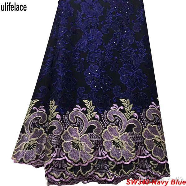 Tela africana de encaje seco en azul marino 100% algodón Swiss Voile Lace en Suiza Para tela de encaje africana de costura Voile para el vestido SW-340