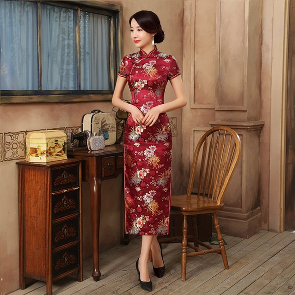 17 Colors Sexy Chinese Traditional Dress Women Satin Daily Casual Dress Summer New Long Qipao Print Flower Cheongsam Size S-3XL