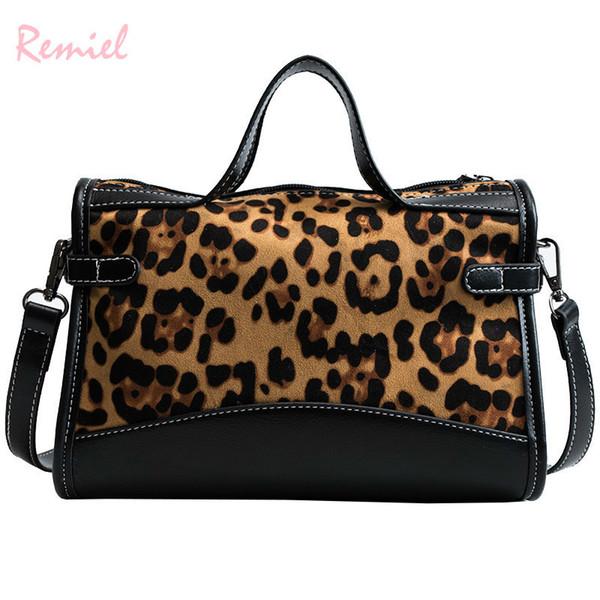 Sexy Leopard Damen Große Einkaufstasche 2019 Neue Mode Retro Hohe Qualität Wildleder frauen Designer Handtasche Große Schultertasche
