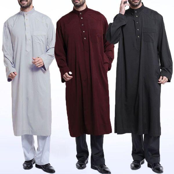 INCERUN Uomo Musulmano Vestiti Kaftan Jubba Thobe Arabo Saudita Thobe Abito Kaftan Arabo Islamico Manica Lunga Abbigliamento Casual Uomo