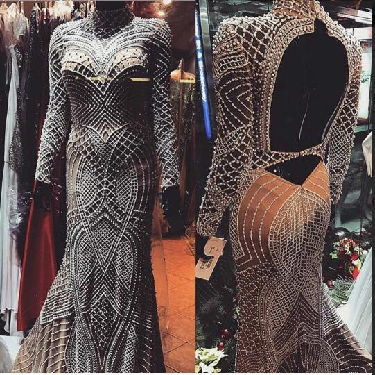 Evening dress Trumpet High Collar Long Sleeve Backless Tulle Pearls Beading Sliver Classic Customizable in any size Modern 1 Customizable