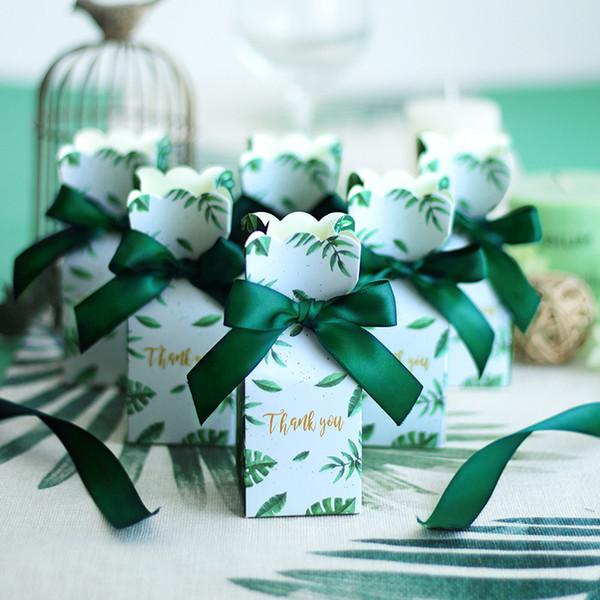Grünbuch Süßigkeitskästen Geschenk Tasche Hochzeit Geschenkbox Baby Shower Gefälligkeiten Geburtstagsfeier Weihnachten Liefert Hochzeit Dekoration