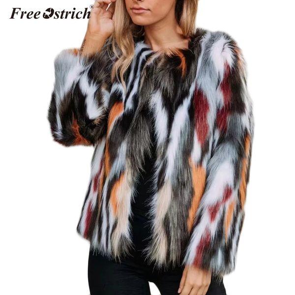 ostrich women elegant fur coats colorful faux fur coat multicolor long sleeve collarless casual woman winter coats n30